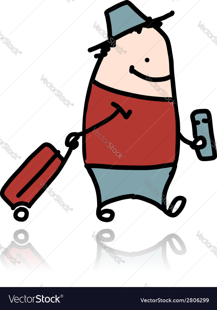 Man with suitcase and ticket cartoon vector   Price: 1 Credit (USD $1)