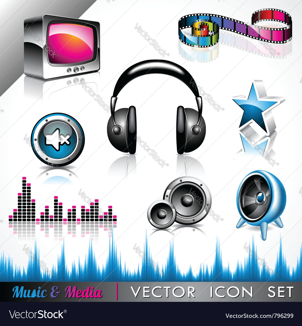 Music and media icon collection vector | Price: 3 Credit (USD $3)