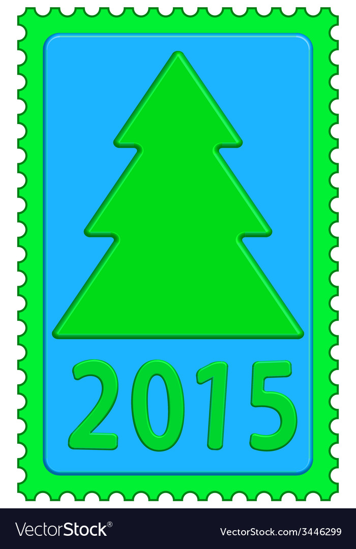 New year on stamp vector | Price: 1 Credit (USD $1)