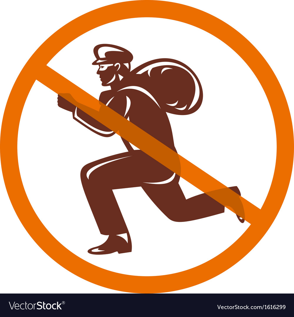 Sign of no burglar thief running with loot vector | Price: 1 Credit (USD $1)