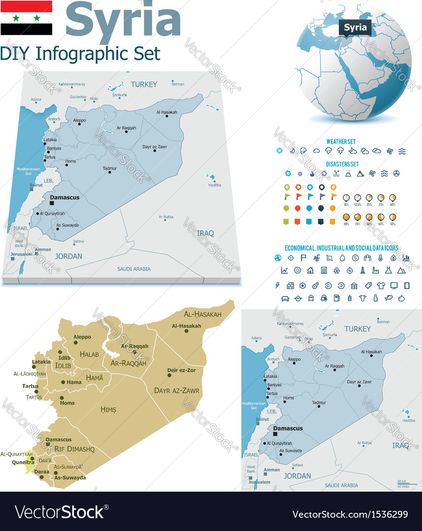 Syria maps with markers vector | Price: 3 Credit (USD $3)