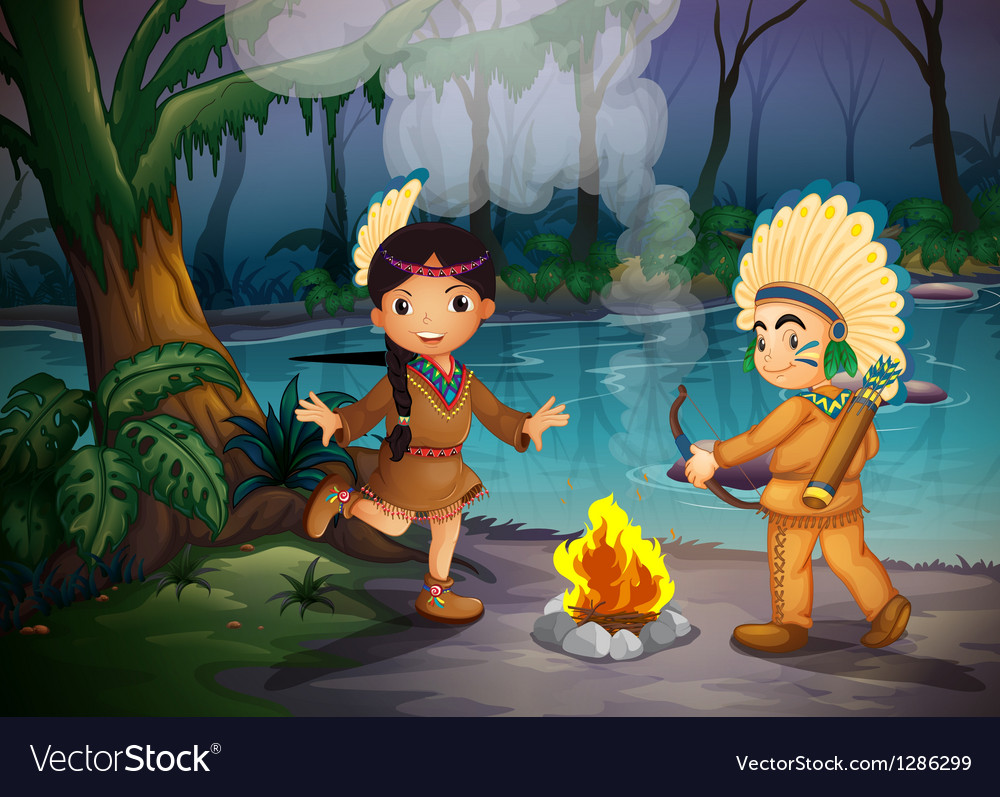 Two young indians at the forest vector | Price: 1 Credit (USD $1)