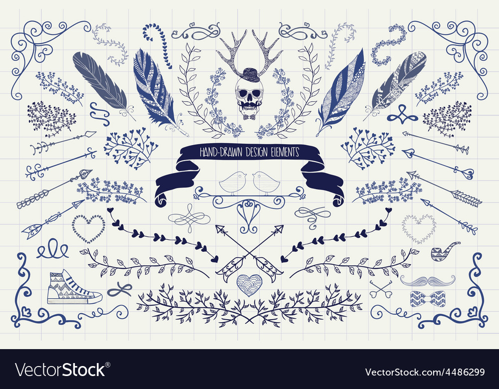 Vintage hand drawn doodle design elements vector
