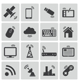 Black wireless icons set vector