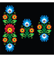 Folk embroidery with flowers - polish pattern vector