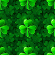 Green seamless background with clover shamrock vector