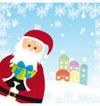 Santa claus cartoon over snow landscape vector