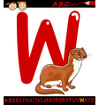 Letter w for weasel cartoon vector