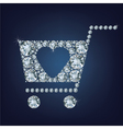Shopping basket sign made a lot of diamonds vector