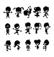 Black kids silhouettes vector