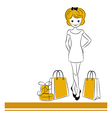 Pretty blond girl with sale bags vector