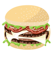Juicy cheese burger on a white background vector