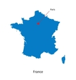 Detailed map of france and capital city paris vector