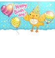 Happy birthday card background with a bird vector
