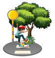 A young gentleman playing at the pedestrian lane vector