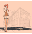 Urban city and sexy girl in short skirt vector
