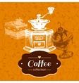 Vintage coffee background hand drawn sketch vector