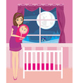 Beautiful woman smiling with newborn child vector