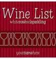 Wine list menu vector