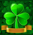 Green patricks greeting card with clover vector