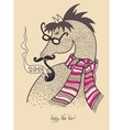 Original hipster horse in glasses mustache smoking vector