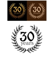 30 years anniversary wreath vector