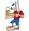 Bullterrier man with glass of beer cartoon vector