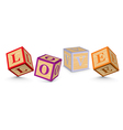 Word love written with alphabet blocks vector
