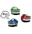 Retro cartoon cars characters vector