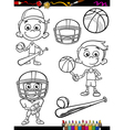Sport boy set cartoon coloring page vector
