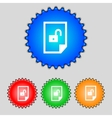 File unlocked icon sign set of coloured buttons vector