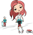 Baby girl with a skateboard vector