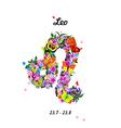 Pattern with butterflies cute zodiac sign - leo vector