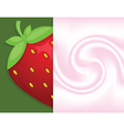 Background in yoghurt and big fresh strawberry vector