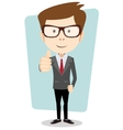 Smiling and winking cartoon business man giving vector