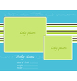 Baby arrival blue-green card with photo frames vector
