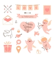 Valentines day set of elements for design vector