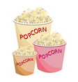 Fresh popcorn in three size of paper bowl vector