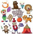 Circus doodle icon set vector