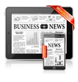 Breaking news concept - tablet pc smartphone vector