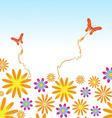 Flower and butterflies background vector