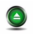 Green glossy button circle web eject sign vector