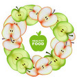 Healthy food slice of apple round frame vector