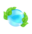 Water bubble with eco green leaves vector