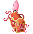 An octopus inside the treasure box vector