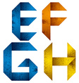Origami alphabet letters e f g h vector