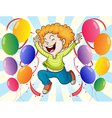 A happy young man with balloons vector