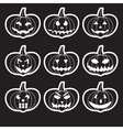 Black halloween carved pumpkins stickers eps10 vector