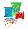 Colorful chocolate candies with three plastic bags vector