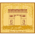 Hand drawn of paris triumph arc - grunge ba vector